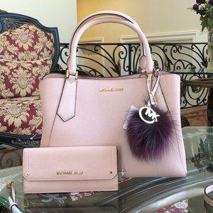 3pcs Michael Kors large handbag&wallet&pom Pom
